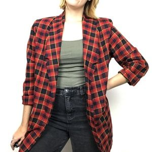 Vintage Red Oversized Blazer Tartan Plaid Longline